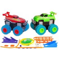 Машинки на бат. Trix Trux набор 2 машинки с трассой (красный+зеленый)