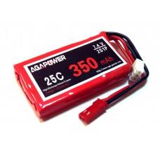 Аккумулятор AGA POWER Li-Pol 350mAh 7.4V 2S 25C Softcase 10x25x40мм JST