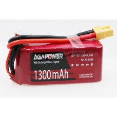 Аккумулятор AGA POWER Li-Pol 1300mAh 14.8V 4S 70C Softcase 32x34x72мм T-Plug