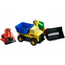 Детский конструктор Popular Playthings машинка (бетономешалка, грузовик, бульдозер, эскаватор)